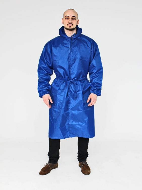Дождевик модный на липучках с поясом синий