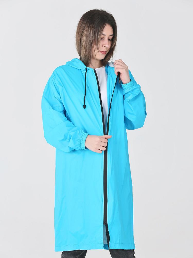 Дождевик Ultra непромокаемый стильный на молнии небесный женский