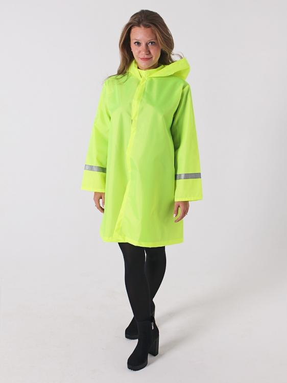 Дождевик куртка детский яркий со светоотражателями лайм