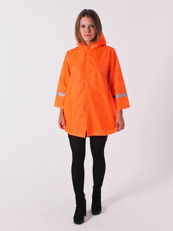 Дождевик куртка детский яркий со светоотражателями оранжевый