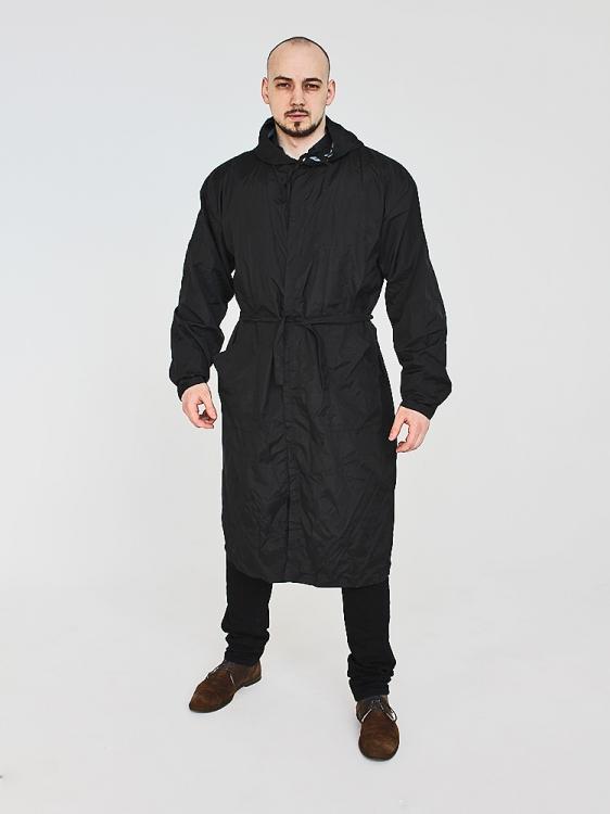 Дождевик модный на липучках с поясом чёрный