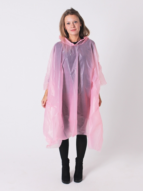 Дождевик пончо виниловый розовый