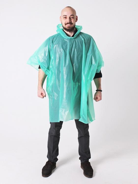 Дождевик пончо виниловый зеленый