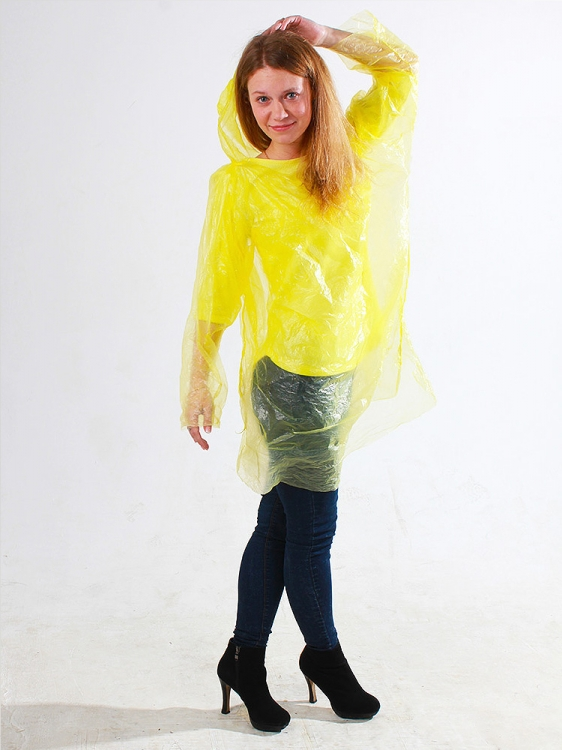Дождевик одноразовый пончо жёлтый