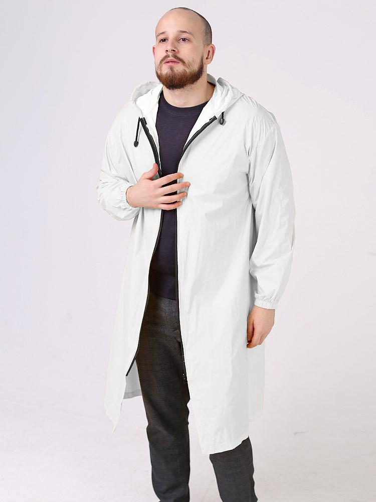 Дождевик Ultra непромокаемый стильный на молнии мужской белый